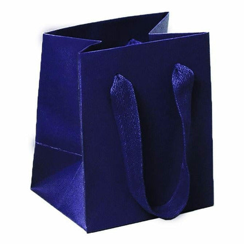 Manhattan Twill Handle Shopping Bags-Navy Recycled - 5.0 x 4.0 x 6.0 - Plastic Bag Partners-Retail Bags - Manhattan Bags