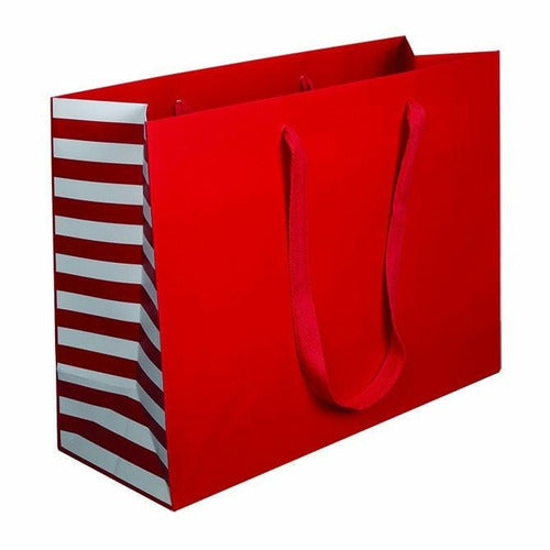 Manhattan Twill Handle Shopping Bags-Red Stripe - 16.0 x 6.0 x 12.0 - Plastic Bag Partners-Retail Bags - Manhattan Bags