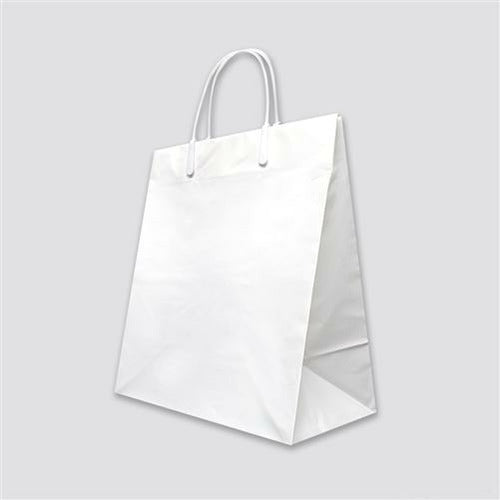 "Plastic Loop Handle Shopper (White) - 7.75"" x 4"" x 9.75"" - Plastic Bag Partners-Retail Bags - Loop Handle Shopper"