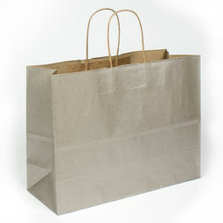 "Tinted Recycled Kraft Shopping Bags - 16.00"" x 6.00"" x 12.5"" (Metallic Silver) - Plastic Bag Partners-Retail Bags - Kraft"