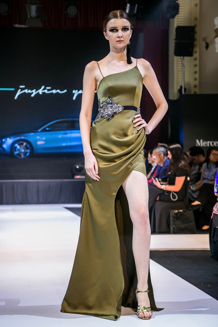 WHITNEY DRAPED MERMAID GOWN IN OLIVE