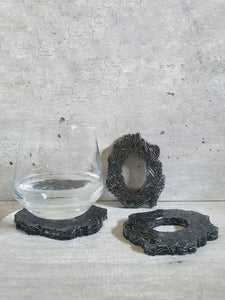 Ahthracite Bugle Beads Resin Coasters (Set of 3)