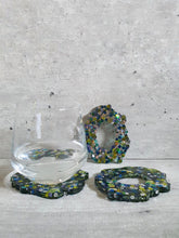 Load image into Gallery viewer, Shades Of Green Sequins Resin Coasters (Set of 3)