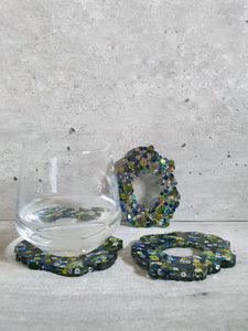 Shades Of Green Sequins Resin Coasters (Set of 3)