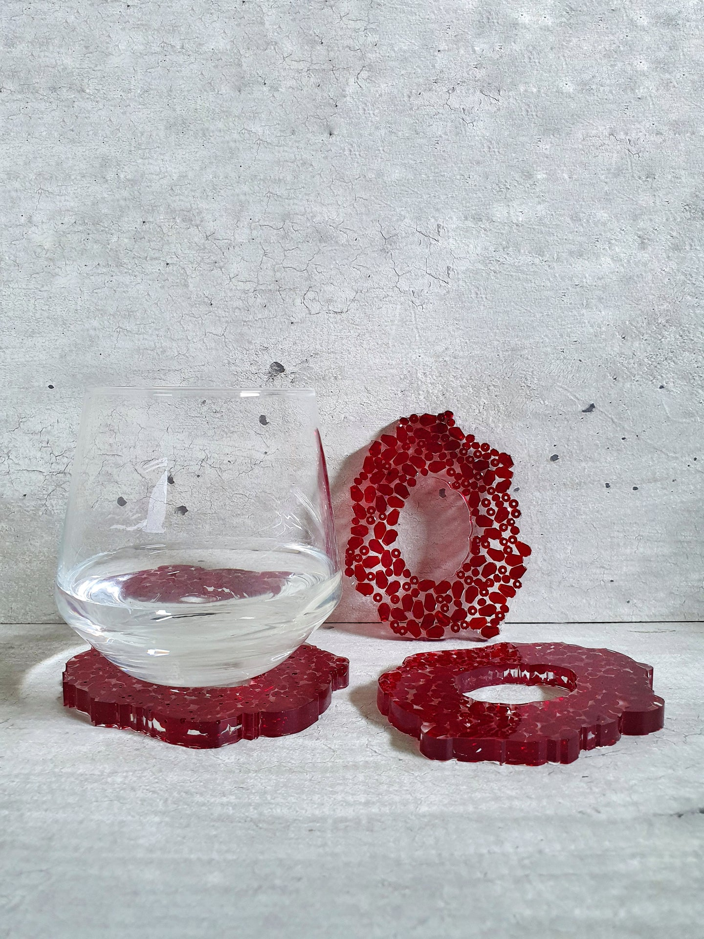 Red Crystal Resin Coasters (Set of 3)