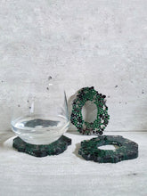 Load image into Gallery viewer, Black And Green Crystal Resin Coasters (Set of 3)