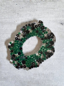 Black And Green Crystal Resin Coasters (Set of 3)
