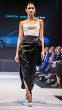 Load image into Gallery viewer, Gia Black Draped Long Skirt