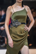 Load image into Gallery viewer, WHITNEY DRAPED MERMAID GOWN IN OLIVE