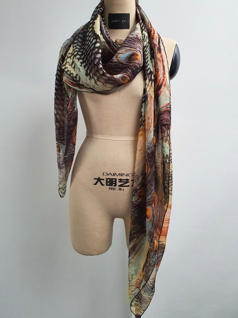Multicolour Print Silk Scarf