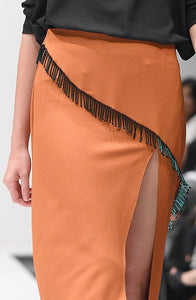 HILARY TANGERINE TASSEL BED SKIRT