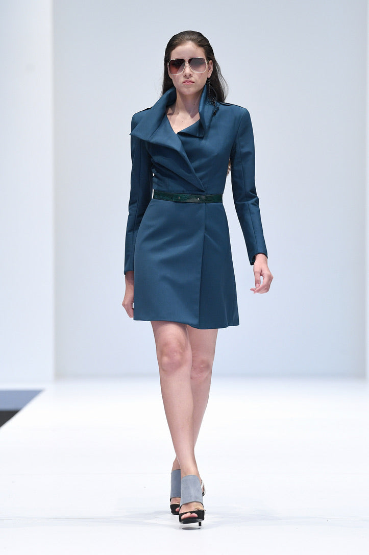 BERDA TEAL COAT DRESS