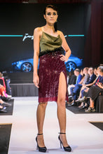 Load image into Gallery viewer, ALEXA SEQUIN COCKTAIL DRESS IN OLIVE AND BORDEAUX