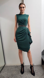 HEIDI SACRAMENTO DRAPED COCKTAIL DRESS