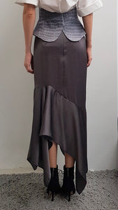 JOURDAN GREY ASYMMETRICAL SKIRT