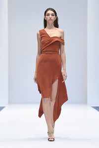 ANYA TERRACOTTA COCKTAIL DRESS