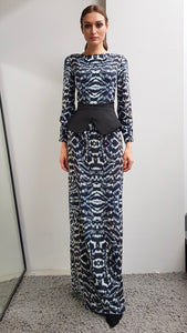 LIYA PHEASANT FEATHER PRINTED DRESS