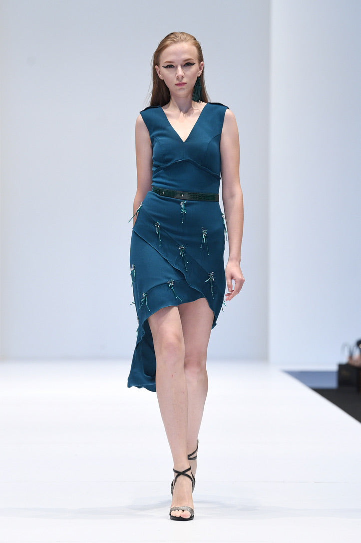 SHAR PEACOCK BLUE COCKTAIL DRESS