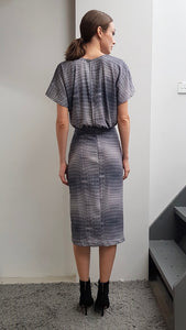 KAIA GREY CROC PRINT DRESS