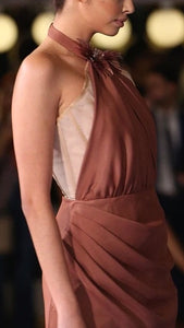 GILDA HALTER GOWN IN DARK NUDE