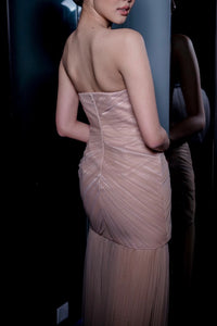 SIMONE BUSTIER GOWN IN POWDER NUDE