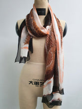 Load image into Gallery viewer, Python Print Silk Scarf in Brown