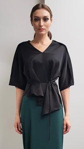 YASMIN BLACK ASYMMETRICAL TOP