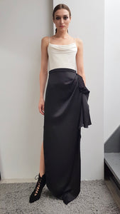 GIA BLACK LONG DRAPED SKIRT