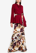 Load image into Gallery viewer, Aster Maroon Cowl Neck Kurung