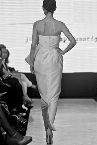 Akiko Shantung silk draped bow dress