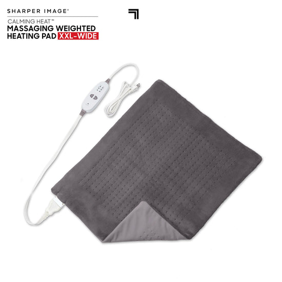 Calming Heat XXL By Sharper Image Weighted Massaging Heating Pad