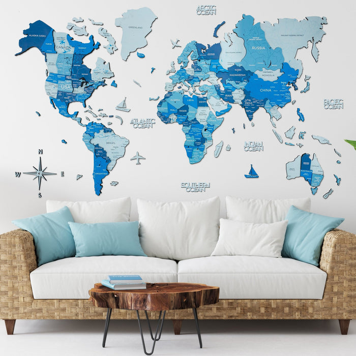 Enjoy The Wood 3D Wooden World Map Colour 'Blue'