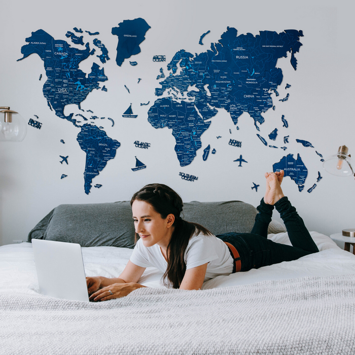 Enjoy The Wood 2D Wooden World Map Colour 'Navy Blue'