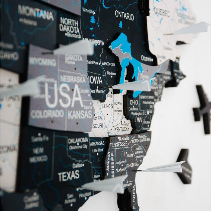 Enjoy The Wood 3D Wooden World Map Colour 'Grey'