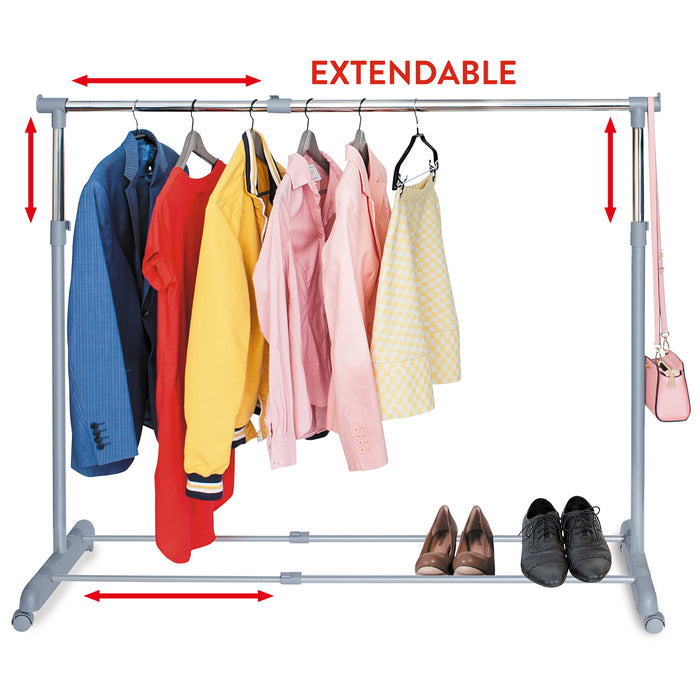 Tatkraft Party Free Standing Adjustable Clothes Rail on Wheels