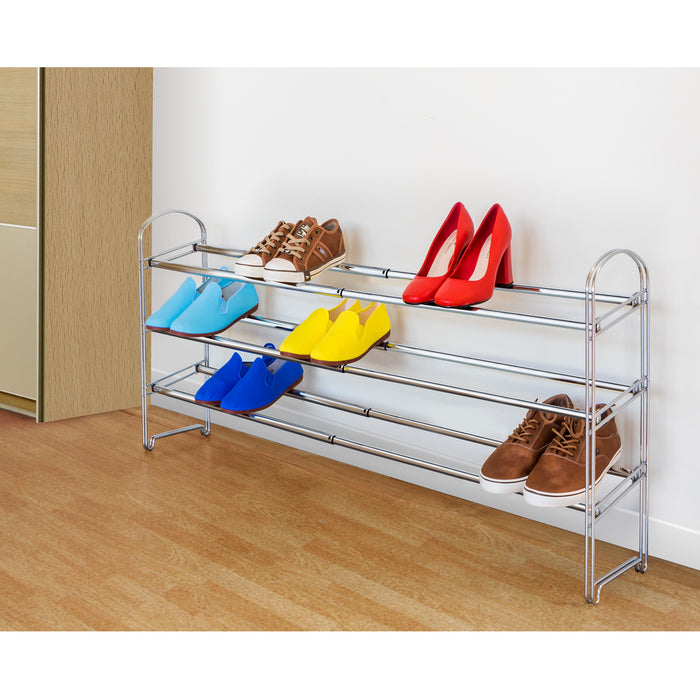 Tatkraft Maestro 3 Shelf Adjustable Chromed Steel Shoe Rack