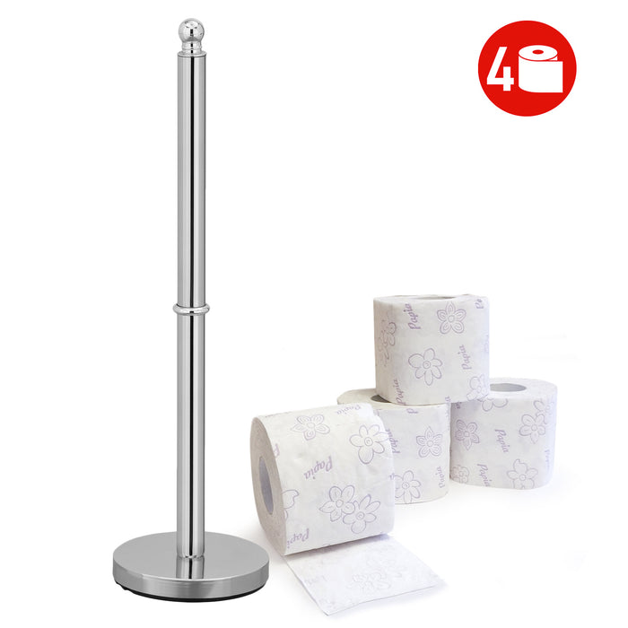 Tatkraft Ideal Chrome-plated Free Standing Toilet Roll Holder