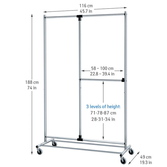 Tatkraft Marvel Heavy Duty Clothes Rail & Mobile Wardrobe