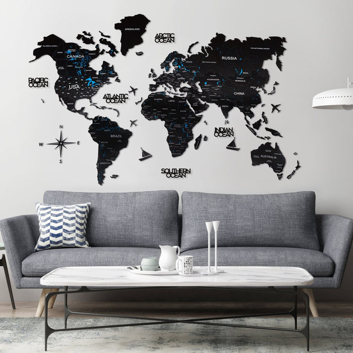 Enjoy The Wood 2D Wooden World Map Colour 'Black'