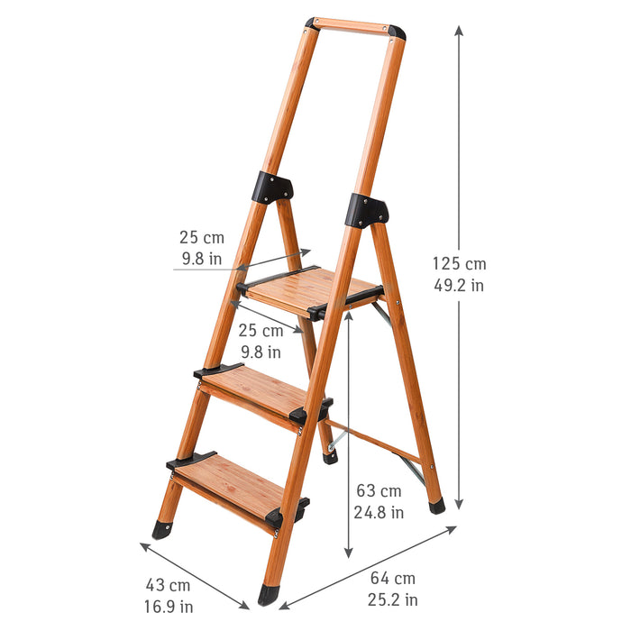 Tatkraft Upstairs Heavy Duty 3 Step Ladder with Anti-Slip Steps