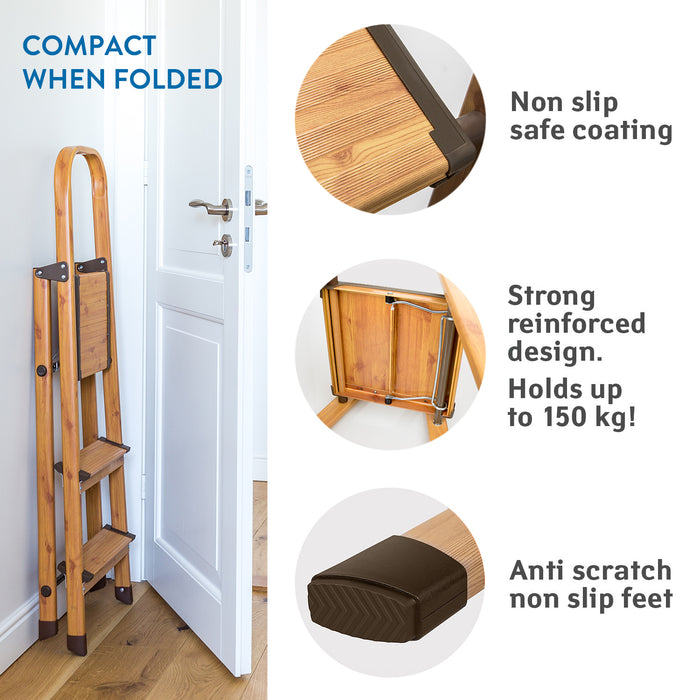 Tatkraft Upgrade Indoor Step Ladder with Anti-Slip Steps
