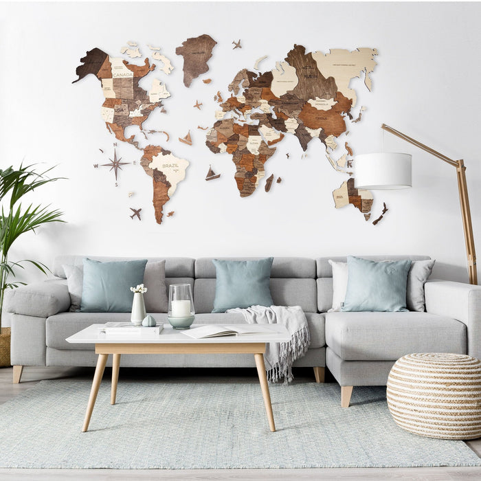 Enjoy The Wood 3D Wooden World Map Colour 'Multi-coloured'