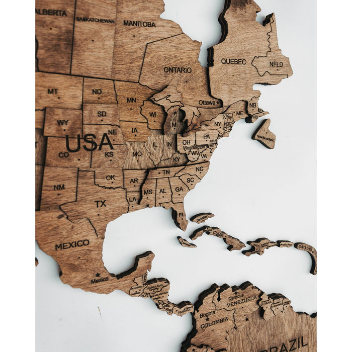 Enjoy The Wood 3D Wooden World Map Colour 'Walnut'