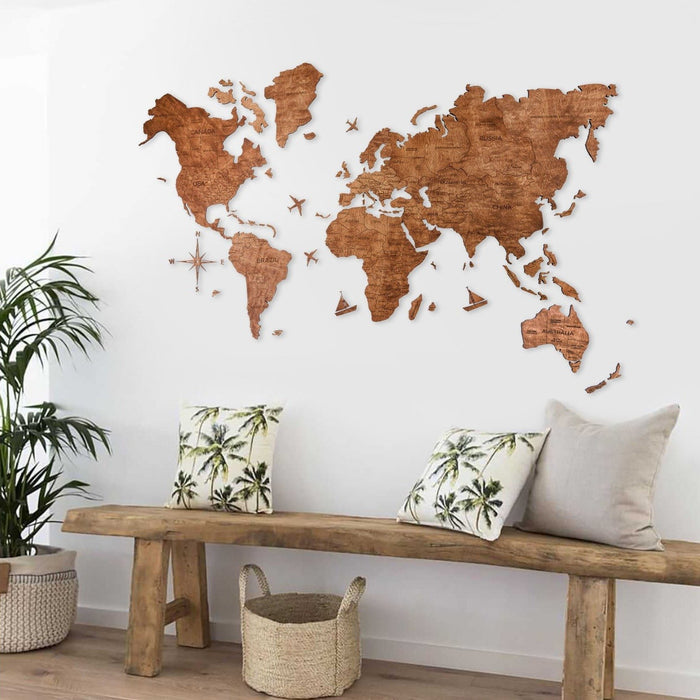 Enjoy The Wood 2D Wooden World Map Colour 'Oak'