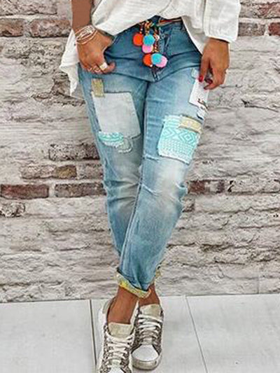 Blue Casual Solid Denim Pants