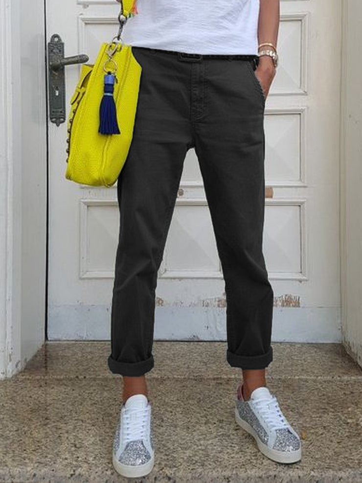 Cotton-Blend Pockets Casual Pants