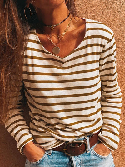 Women Striped Long Sleeves Casual T-Shirts