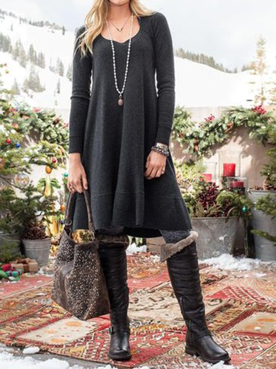 Black Knitted Casual Long Sleeve Dresses