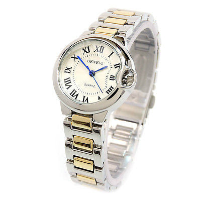 New 2Tone Geneva Small Case Classic Roman Dial Women's Quartz Watch