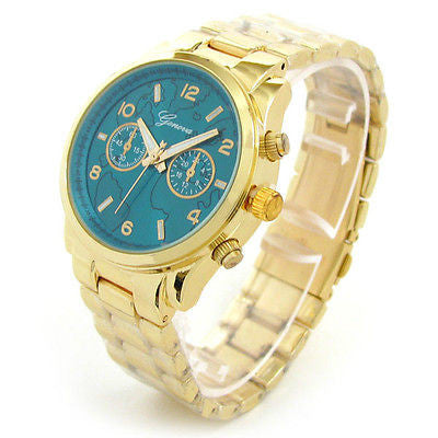 New Gold Geneva Globe Dial Boyfriend Style Women's Watch